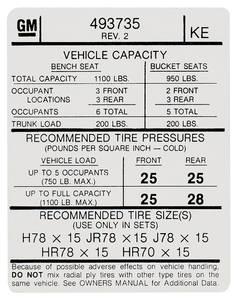 "1974-1974 Grand Prix Tire Pressure Decal ""KE"" (GM# 493735)"