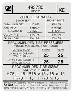"1974 Bonneville Tire Pressure Decal ""KE"" (GM# 493735)"