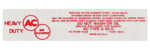 1959-60 Catalina Air Cleaner Service Instruction Decal V8 2-V w/A63C (Red)