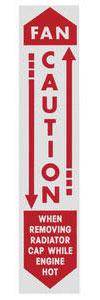 "1961-1961 Bonneville Radiator Decal, ""Caution - Fan"""