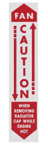 "1961 Bonneville Radiator Decal, ""Caution - Fan"""