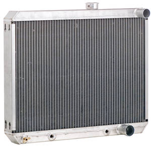 "1966-67 Tempest Radiator, Aluminum Downflow Polished - 18"" X 25"" X 2"" Manual, Tall, Driver Upper/Pass Lower Hose"