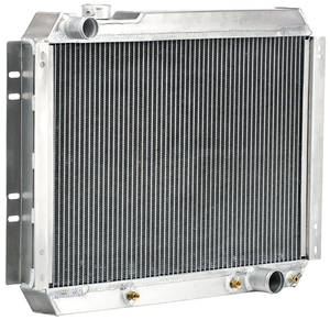 "1966-67 El Camino Radiator, Aluminum Downflow 17"" X 26"" X 2"" - Satin AT, Driver Upper/Pass Lower Hose"