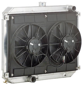 "1966-67 Tempest Radiator Module, Aluminum Downflow Polished - 17"" X 25"" X 2"" Manual, Short, Driver Upper/Pass Lower Hoses"