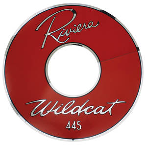 "1963-1963 Riviera Air Cleaner Decal Riviera Wildcat 445 14"" Red (Vinyl)"