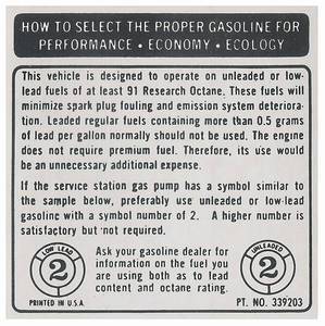 1973-74 Riviera Fuel Requirement Decal Unleaded 91 Octane