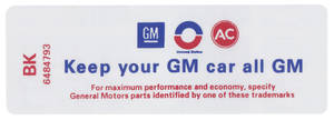 """1969 Riviera Air Cleaner Decal, """"Keep Your GM Car All GM"""" GS (BK, #6484793)"""