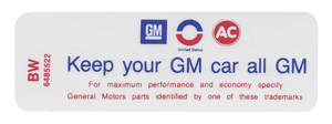 """1970 Riviera Air Cleaner Decal, """"Keep Your GM Car All GM"""" 455-4V (BW, #6485522)"""