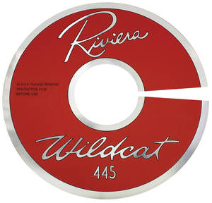 "1963-1963 Riviera Air Cleaner Decal Riviera Wildcat 445 14"" Clear (Aluminum)"
