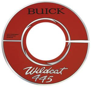 "1965-66 Riviera Air Cleaner Decal Buick Wildcat 445 14"" Red (Aluminum)"