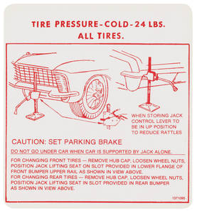 1965 Riviera Jacking Instruction Decal (#1371095)