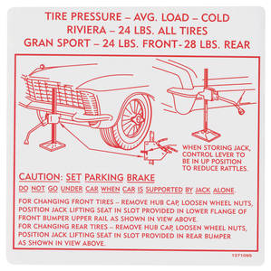 1965 Riviera Jacking Instruction Decal GS (#137109)