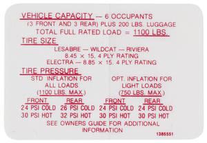 1968 Riviera Tire Pressure Decal (#1385551)