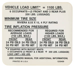 1969-1969 Riviera Tire Pressure Decal (#1230499)