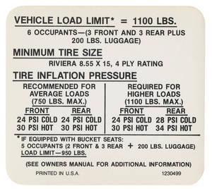1969 Riviera Tire Pressure Decal (#1230499)