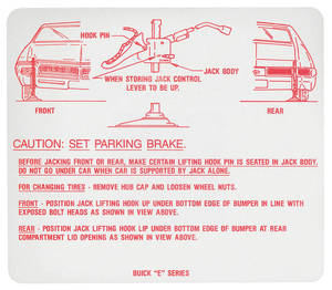 1969 Riviera Jacking Instruction Decal (#1230499)