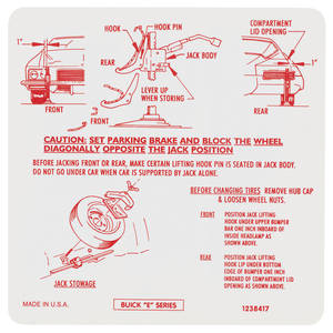 1971 Riviera Jacking Instruction Decal (#1238417)