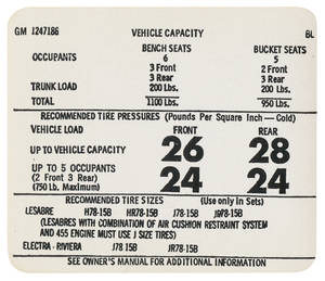 1973-1974 Riviera Tire Pressure Decal (BL, #1247186)