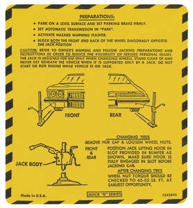 1974 Riviera Jacking Instruction Decal (#1245845)