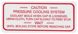 1963 Riviera Cooling System Decal Aluminum Engine Cooling