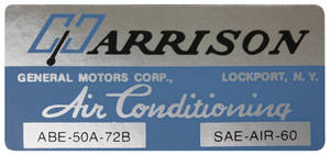 1973 Riviera Evaporator Box Decal ABE-50A-72B