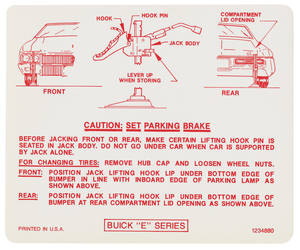 1970 Riviera Jacking Instruction Decal (#1234880)
