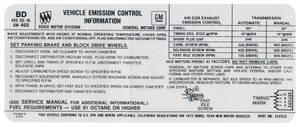 1973 Riviera Emissions Decal 455-4V AT/MT BD (BD, #1242253)