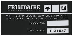 1974-78 Eldorado Air Conditioning Compressor Decal - Frigidaire (#1131047)
