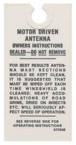 1963-65 Riviera Interior Decal Antenna Instruction Decal (#570340)