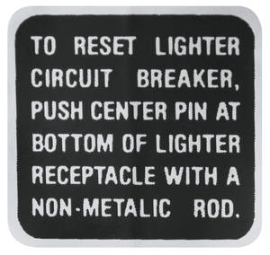 1969 Riviera Interior Decal Lighter Instruction Decal