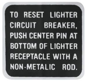 1969 Riviera Lighter Instruction Decal