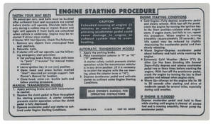 1974-76 Riviera Interior Decal Engine Starting Instruction Decal (#345532)