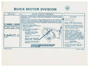 1975-76 Riviera Ignition Decal/Tag Engine Start Interlock, Sleeve (#1246263)