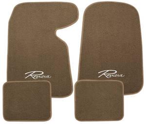 "1963-1976 Riviera Floor Mats, Carpet Matched Oem Style Carpet ""Riviera"" Script, by Trim Parts"