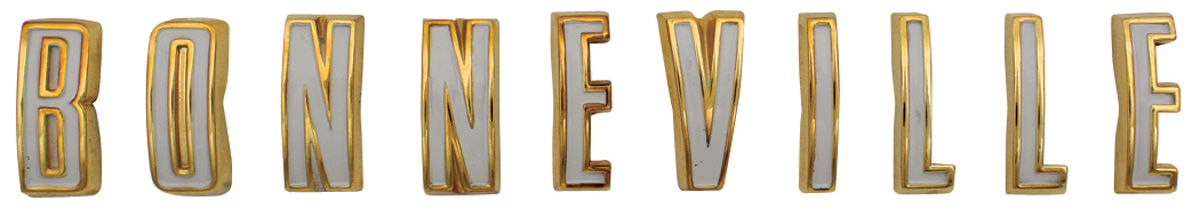 """Photo of Fender Emblem, 1961 """"Bonneville"""" Letters"""