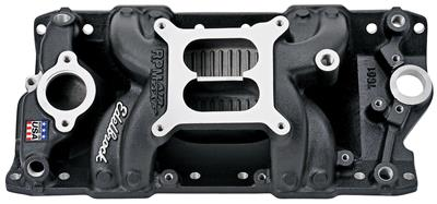 1964-77 Chevelle Intake Manifold, RPM Air Gap Satin Finish Non-EGR, 2-R Big Block, by Edelbrock