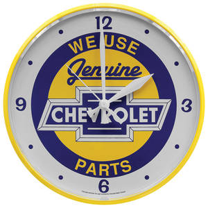 "Wall Clock ""We Use Genuine Chevrolet Parts"""
