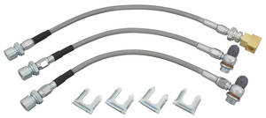1964-65 GTO Brake Hose Set, Stainless Steel (Teflon-Lined) Disc Brake Single Piston Calipers