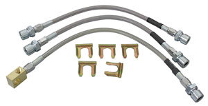 1966-67 GTO Brake Hose Set, Stainless Steel (Teflon-Lined) Disc Brake Single Piston Calipers