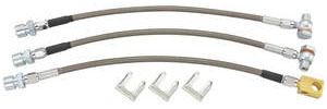1973-1977 Grand Prix Brake Hose Set, Stainless Steel (Grand Prix) 2 Front, 1 Rear Hose Disc, w/Single Piston Calipers