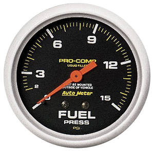 "1964-73 GTO Gauges, Pro-Comp Liquid-Filled 2-5/8"" Fuel Pressure (0-15 Psi)"