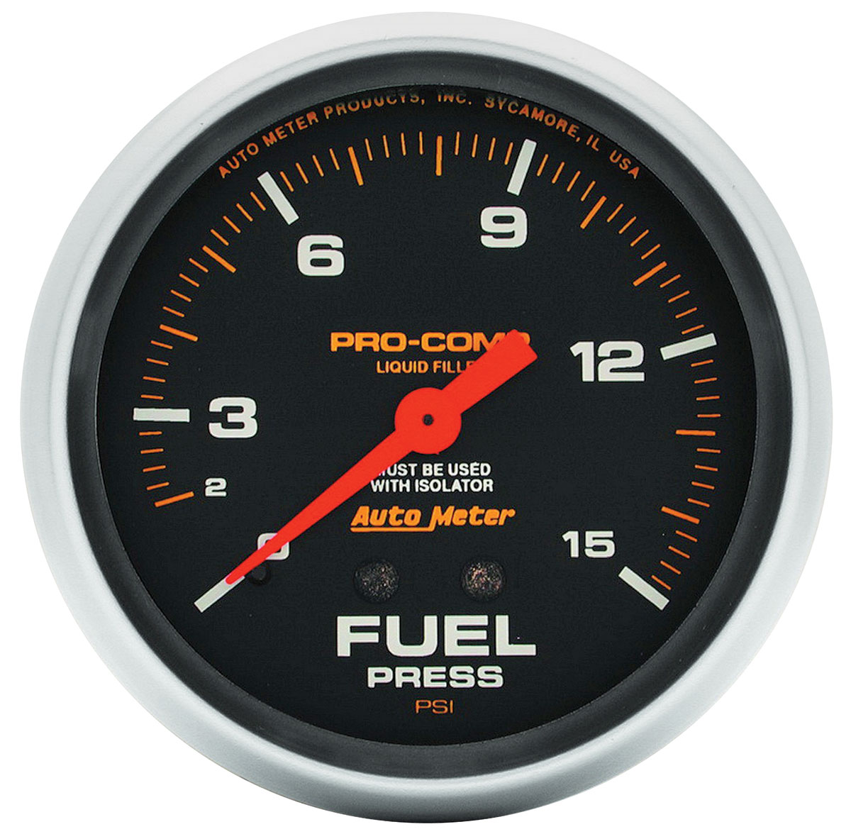 "Photo of Gauges, Pro-Comp Liquid-Filled 2-5/8"" fuel pressure w/isolator (0-15 PSI)"