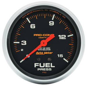 "1964-1973 Bonneville Gauges, Pro-Comp Liquid-Filled 2-5/8"" Fuel Pressure w/Isolator (0-15 Psi)"