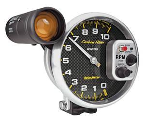 """1964-1977 Chevelle Gauges, Carbon Fiber Series 5"""" Tach w/Shift Light (10,000 Rpm), by Autometer"""