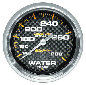 1964-73 Grand Prix Gauges, Carbon Fiber Series Water Temperature (140-280°) w/6-Ft. Tubing