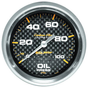 1964-73 LeMans Gauges, Carbon Fiber Series Oil Pressure (0-100 Psi) w/6-Ft. Tubing