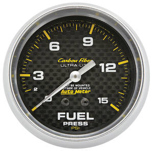 "1978-88 Malibu Carbon Fiber Series 2-5/8"" Fuel Pressure (0-15 PSI), by Autometer"
