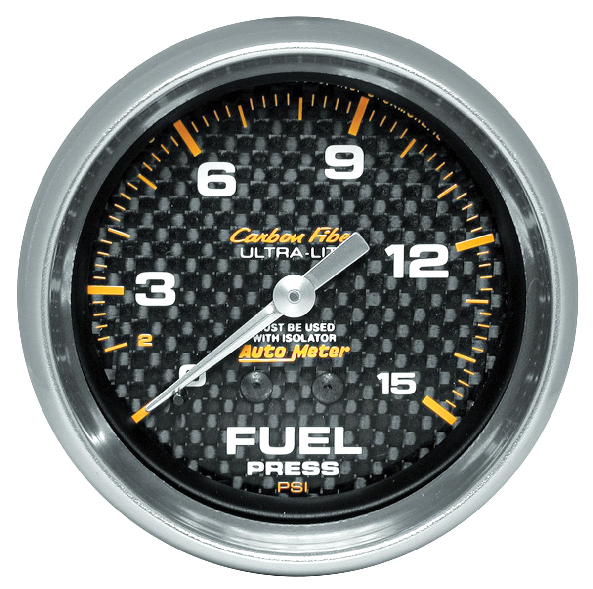 Photo of Gauges, Carbon Fiber Series fuel pressure w/isolator (0-15 psi)