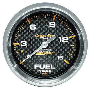 1964-73 GTO Gauges, Carbon Fiber Series Fuel Pressure w/Isolator (0-15 Psi), by Autometer