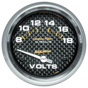 1964-77 Chevelle Gauges, Carbon Fiber Series Voltmeter (8-18), by Autometer